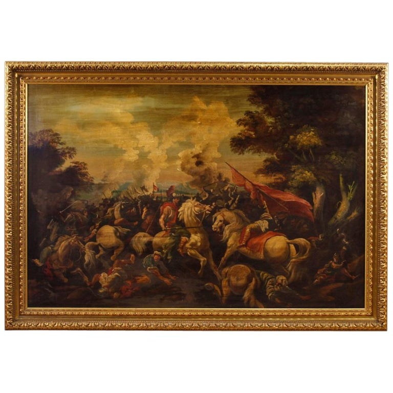 Italian Battle Painting Oil on Canvas from 20th Century