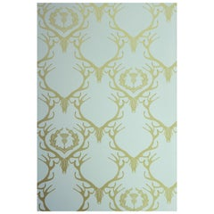 'Deer Damask' Contemporary, Traditional Wallpaper in Duck Egg