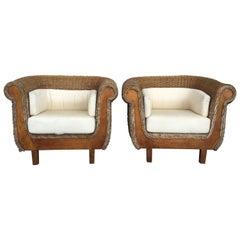 Midcentury Set of Rattan and Wood Big Lounge Armchairs