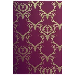 'Deer Damask' Contemporary, Traditional Wallpaper in Claret