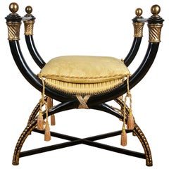 X-Frame Stool, Ebonised and Giltwood