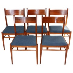 Set of Five Natural Wood Blue Chairs from 1970s