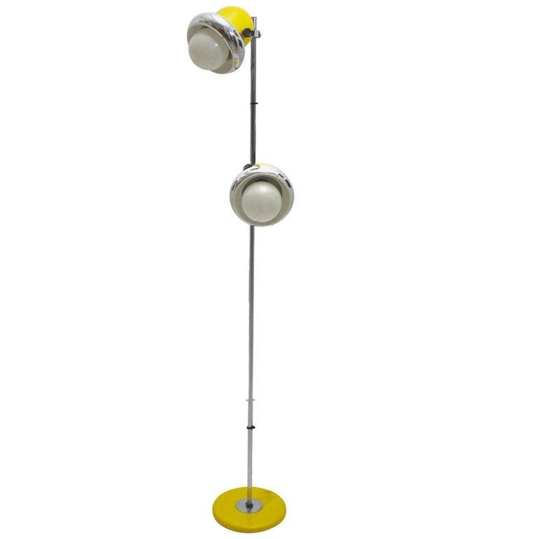 Yellow and Chrome Floor Lamp, 1970s