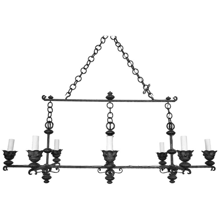 Italian Wrought Iron and Painted Horizontal Eight-Light Chandelier, circa 1900 For Sale