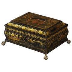 Regency Period Japanned and Chinoiserie Lacquered Casket Standing on Brass Feet