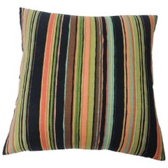 "Barkcloth ""Delray"" Multi-Color Stripes Decorative Pillow"