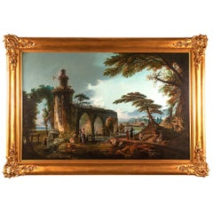 Oil on Canvas, 19th Century Italian Landscape in the Style of Claude Lorraine