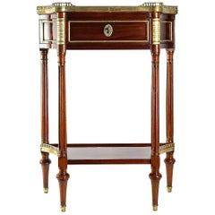 French Louis XVI Period Mahogany Console Black Granit Marble Top, circa 1780