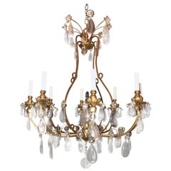 Wonderful Baguès French Rock Crystal Gilt Iron Chandelier Eight-Light Fixture