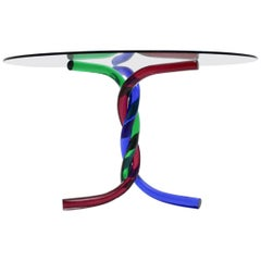 Red and Blue and Green Glass Dining Table by Seguso Murano, Italy, 1970s