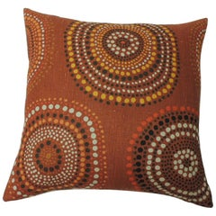 "Modern ""Circles"" Linen Decorative Pillow"