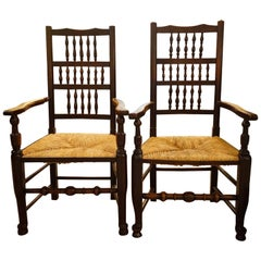 Pair of Beech and Elm Spindle Back Armchairs
