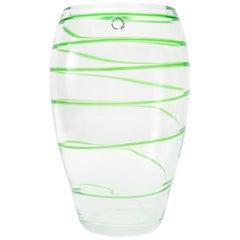 Italian Green Swirl Stripe Murano Glass Vase by V. Nason & Co.