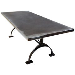 Antique Patinated Zinc-Top Dining Table, Cast Iron Legs