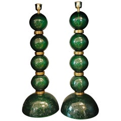 Alberto Donà, Tall Pair Table Lamps Murano Green Pulegoso with Gold Leaf Accents