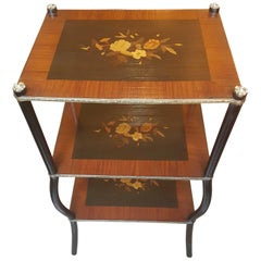 19th Century Napoleon III Three-Tier Marquetry Étagère, France, circa 1860