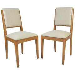 Pair of French 1950s Oak Side Chairs