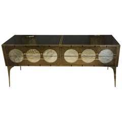 Black Bronze and Gold Opalines Glass Chest of Drawers, Brass Fittings, 1980s