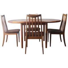1970s Midcentury Danish Table and Total of Six G Plan Dining Chairs