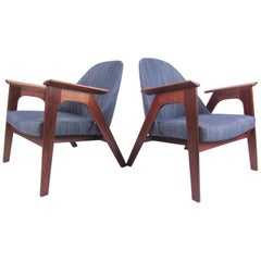 Pair of Scandinavian Modern Lounge Chairs After Kofod-Larsen