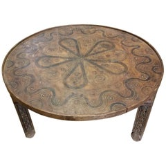 Moroccan Hand-Carved Coffee Table, Round and Simple