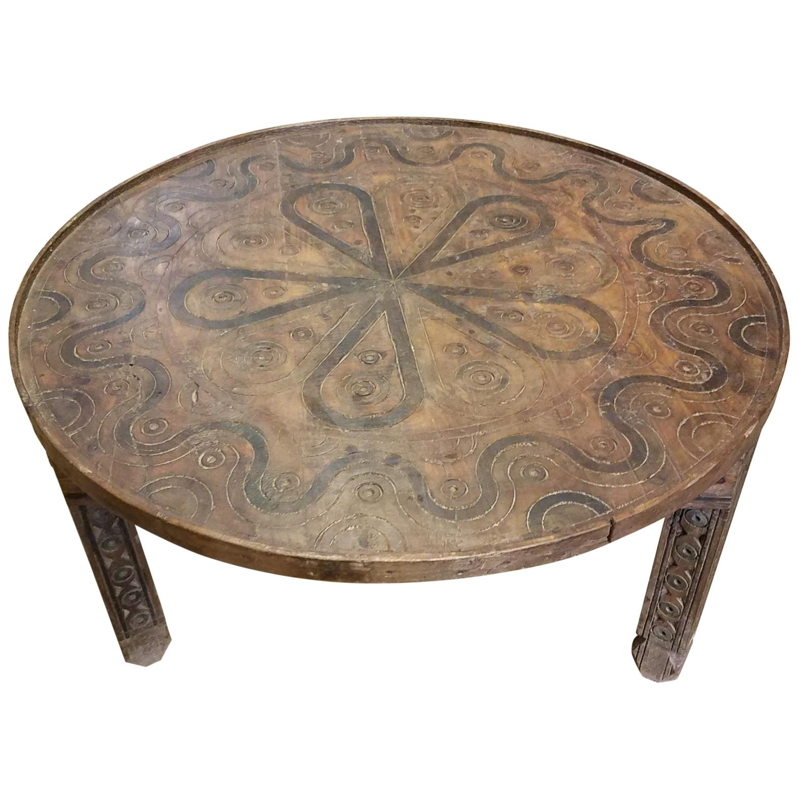 Moroccan Hand Carved Coffee Table, Round And Simple For Sale