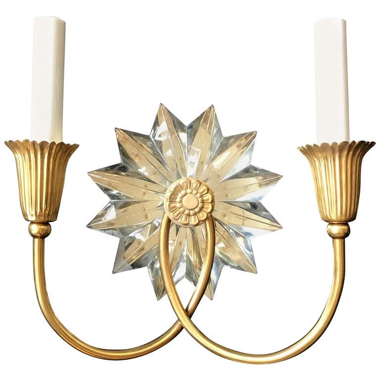 Wonderful Pair of Mid-Century Modern Star Crystal Bronze Gilt Baguès Sconces