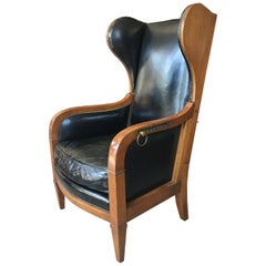 French Art Deco Recliner Wing Chair by Baker Furniture, Walnut with Brass Detail