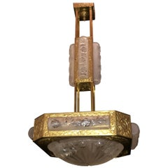 Wonderful French Art Deco Signed Degué Bronze Frosted Glass Square Chandelier