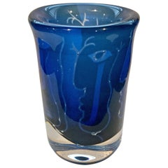 Vibrant Blue Faces Vase by Ingeborg Lundin for Orrefors