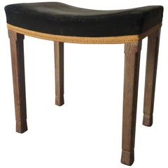 Queen Elizabeth II Coronation Stool in Limed Oak and Velvet