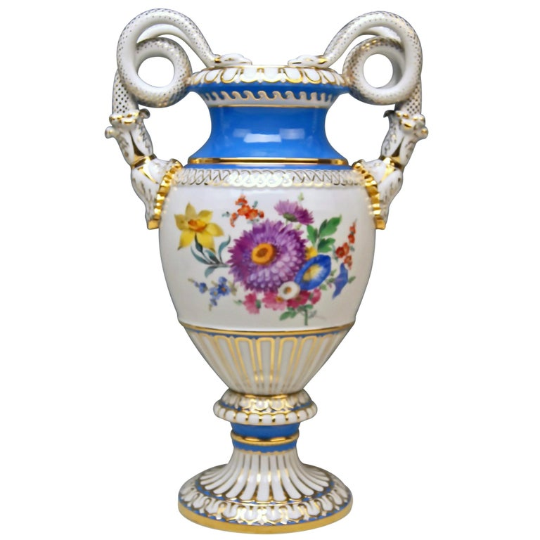 Meissen Snake Handles Vase Painted Designed By Leuteritz Circa 1924