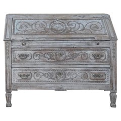 19th Century Country French Louis XVI Painted Secretary