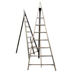 Antique American Wood and Iron A-Frame Peak Top Folding Orchard Ladders