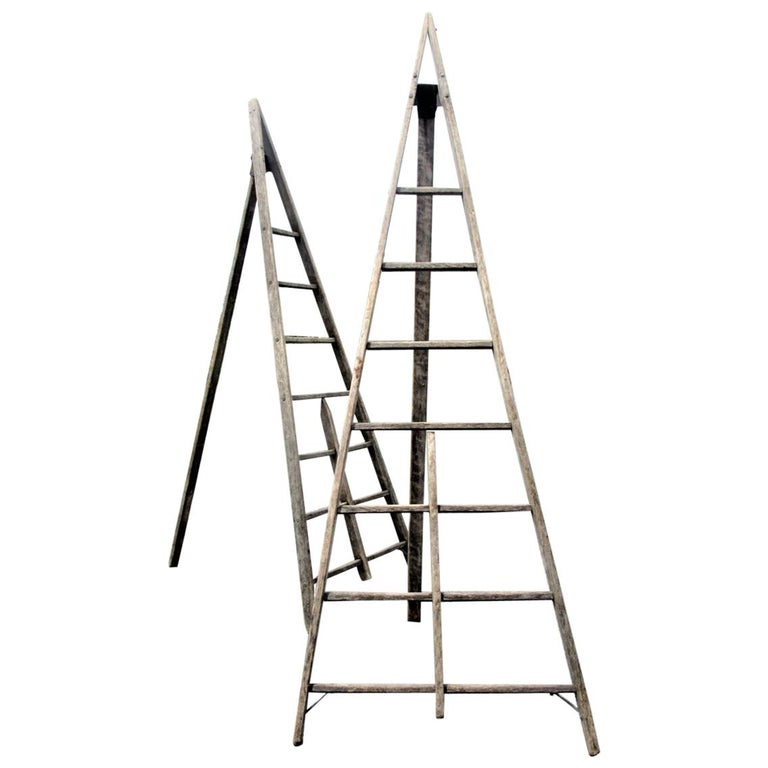 Antique American Folding A-Frame Orchard Ladder For Sale at 1stdibs