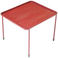 Vintage Mathieu Matégot Red-Painted Corrugated Steel Side Table, France, 1950s