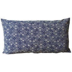 Indigo Blue and White Print Cotton Pillow, French, Midcentury