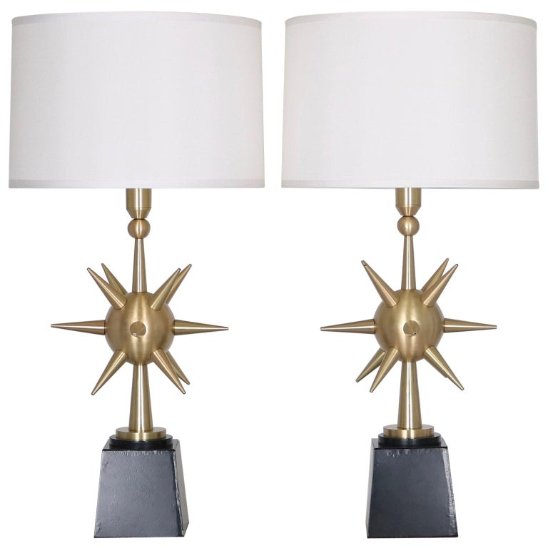 Arturo Pani Mid-Century Modern Sputnik Table Lamps in Brushed Bronze