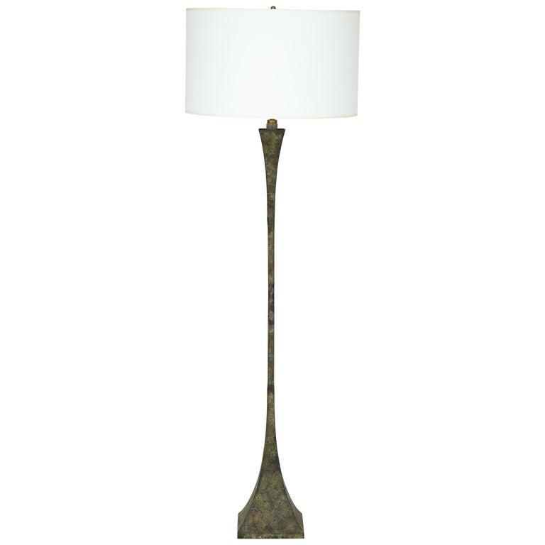Hansen Patinated Bronze Floor Lamp by S. R. James, France, 1950s