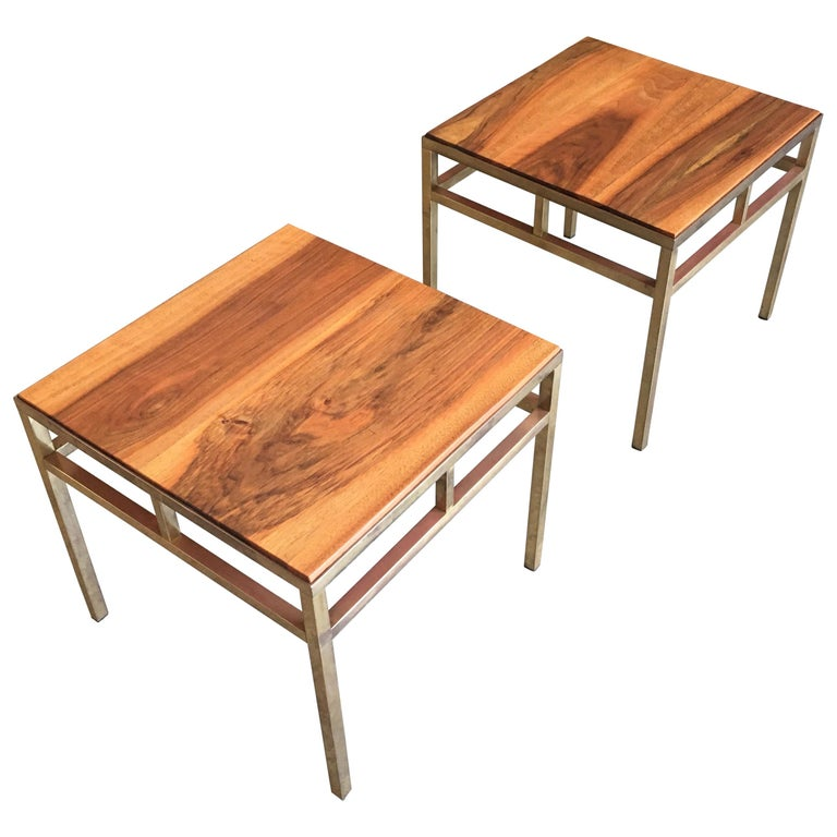 1970s Brass and Walnut End Tables For Sale
