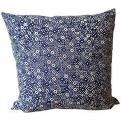 Indigo Blue and White Print Cotton Pillow French, Midcentury