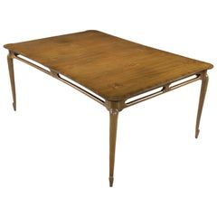 Early 1960s Mastercraft Walnut and Burl Amboyna Marquerty Top Dining Table