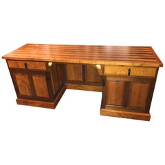 Exceptional Stephen Huneck Custom Tiger Maple and Walnut Desk with Dog Motif
