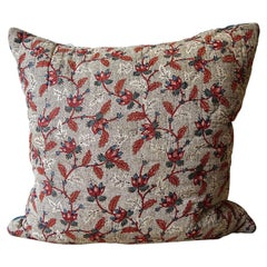 Floral Red Blue Blockprinted Pillow French 18th Century