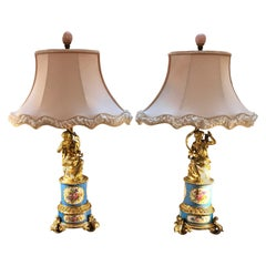 19th Century Pair of Ormolu and Sèvres Porcelain Lamps