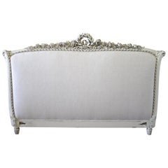 19th Century Carved and Painted Louis XVI Style King-Size Headboard