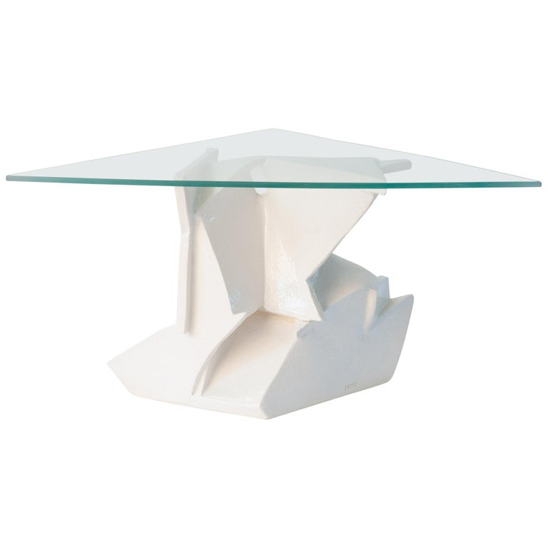 J Schatz Studio 2018 Angles Table in Stoneware with Tempered Glass Top - Modern For Sale