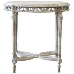 20th Century Painted Oak Carved Louis XVI Style Side Table