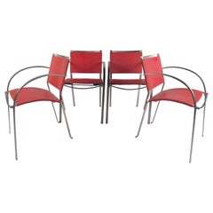 Italian Modern Red Leather Dining Chairs