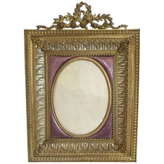 Fine French Bronze Ormolu Purple Guilloche Enamel Mother-of-pearl Picture Frame